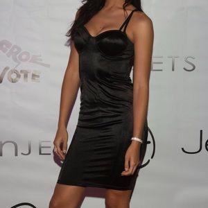 Dresses & Skirts - Satin Bustier Cocktail Dress - Black